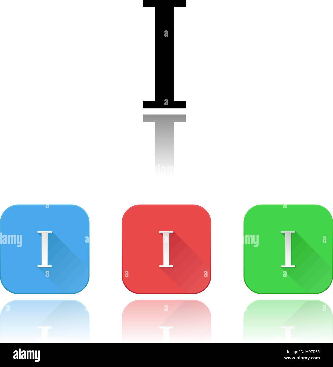 I roman numeral icons. Colored set with reflection - Stock Image