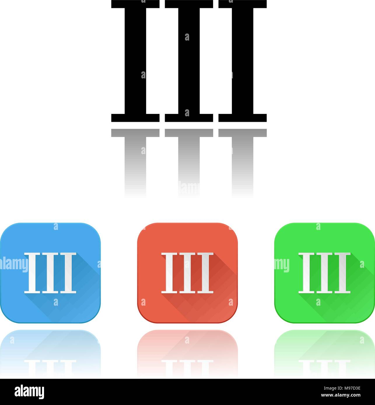 III roman numeral icons. Colored set with reflection - Stock Image