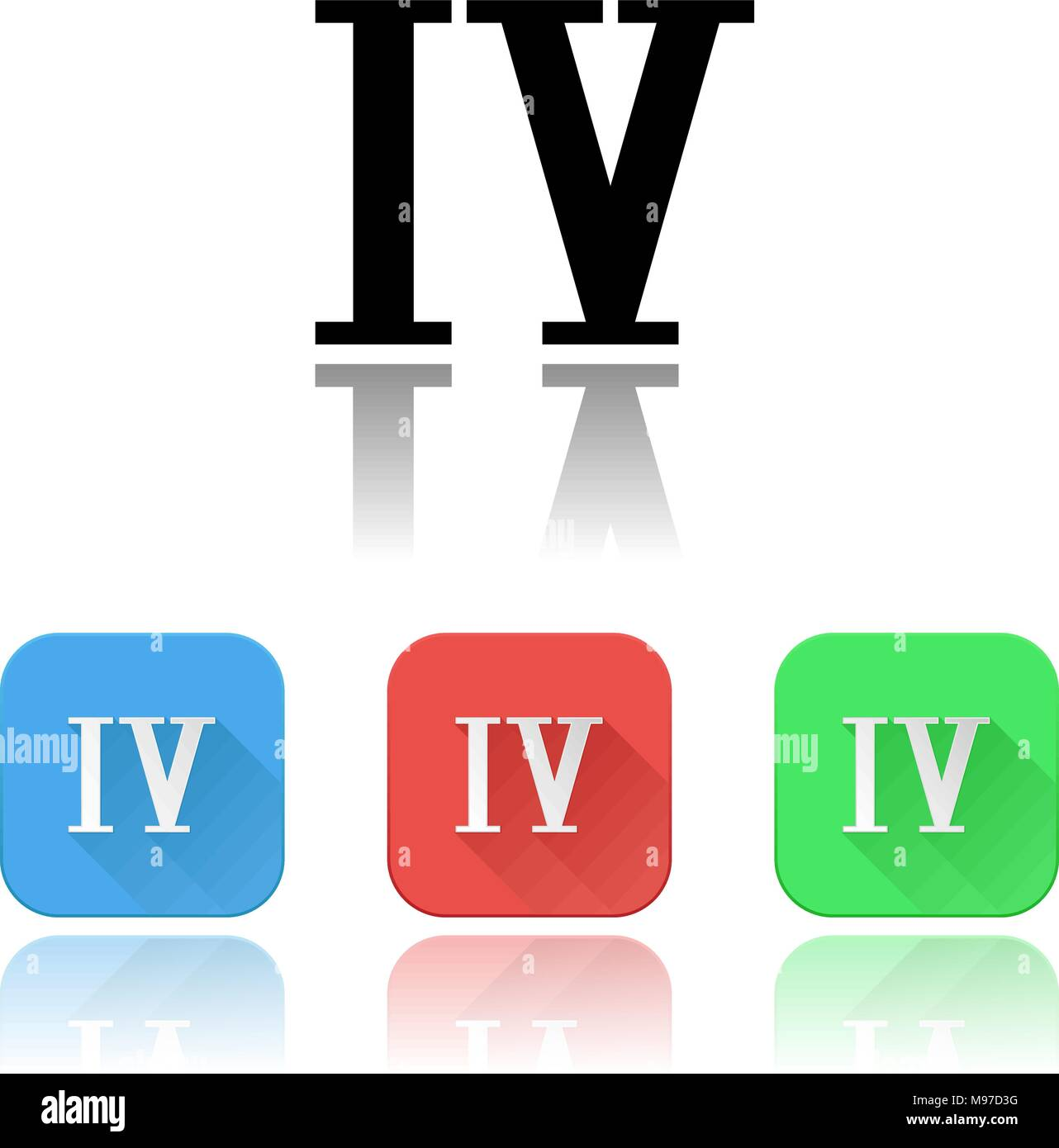 IV roman numeral icons. Colored set with reflection - Stock Vector