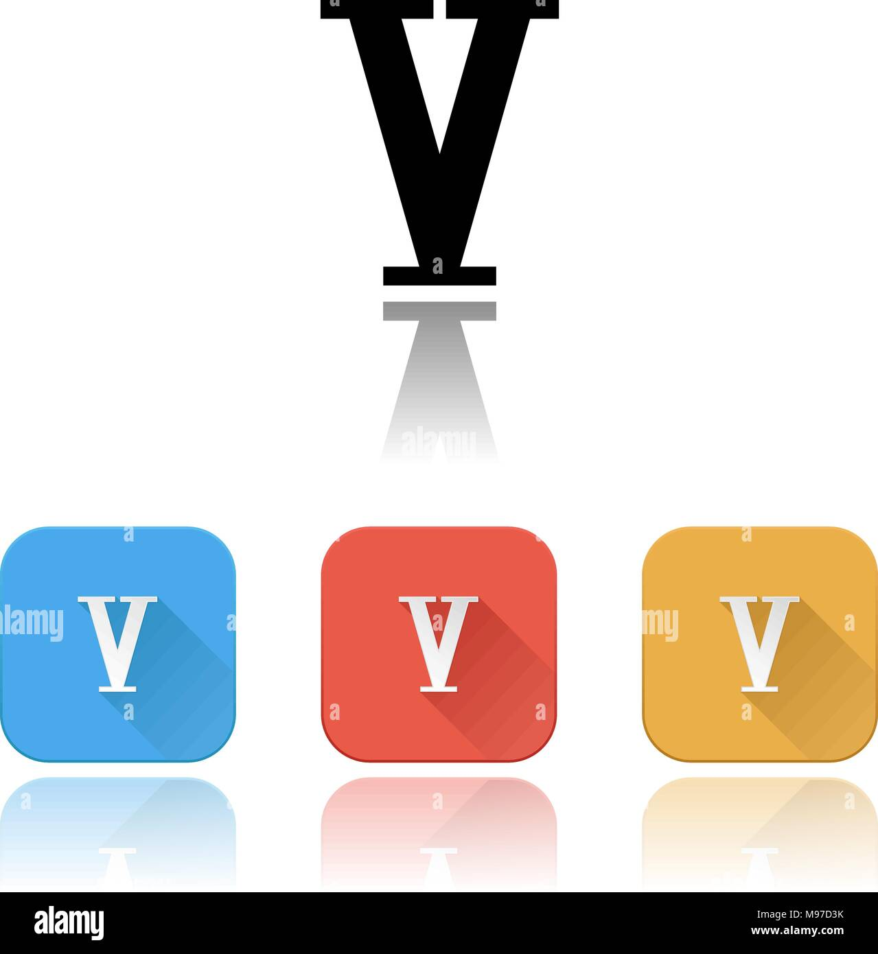 V roman numeral icons. Colored set with reflection - Stock Image