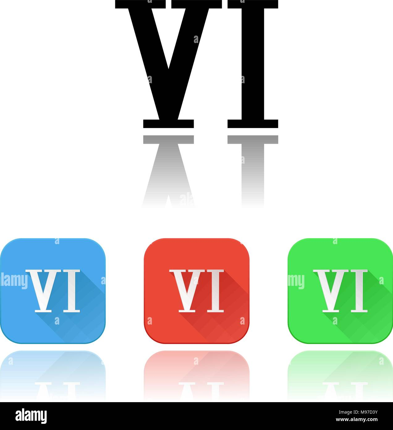 VI roman numeral icons. Colored set with reflection - Stock Image