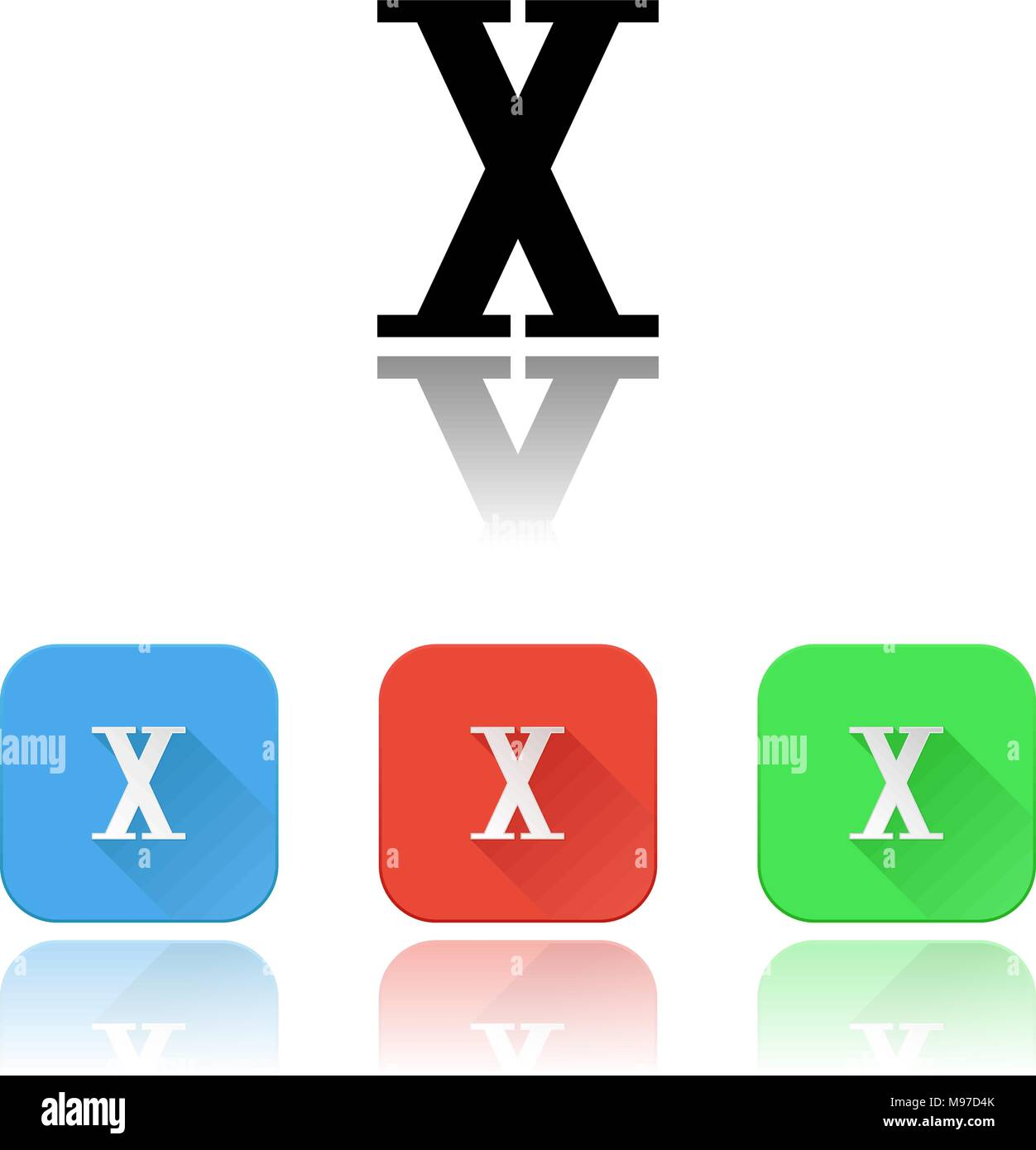 X roman numeral icons. Colored set with reflection - Stock Image