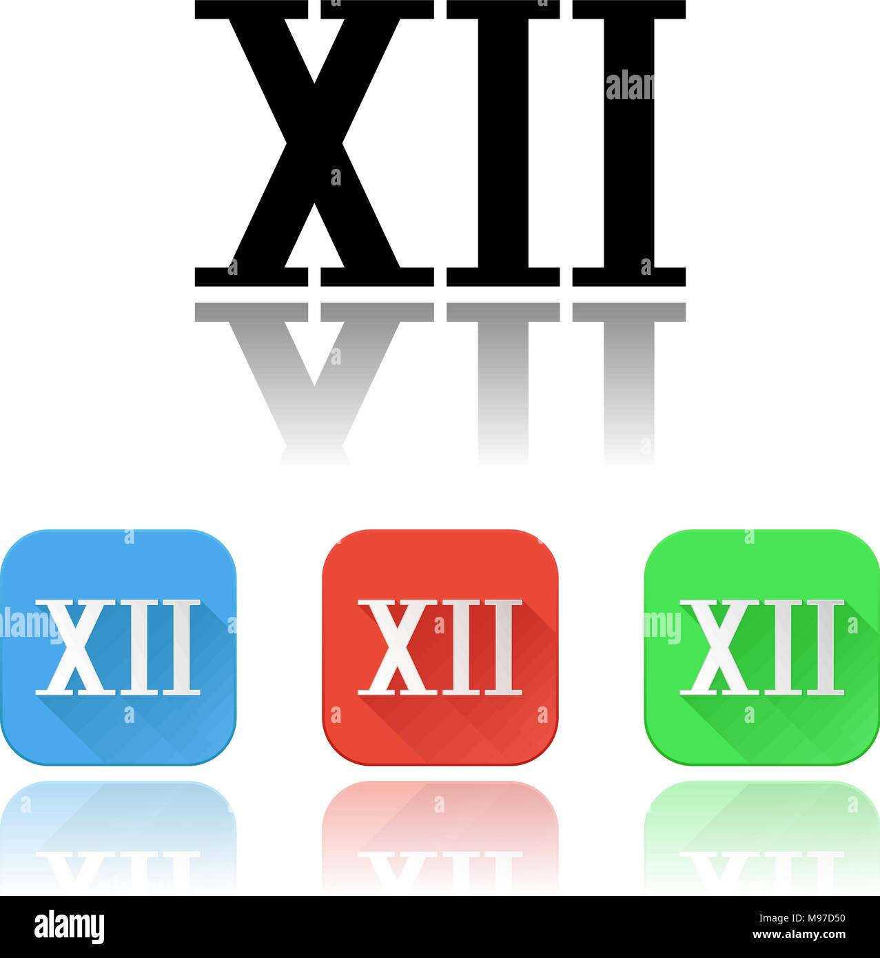 XII roman numeral icons. Colored set with reflection - Stock Image