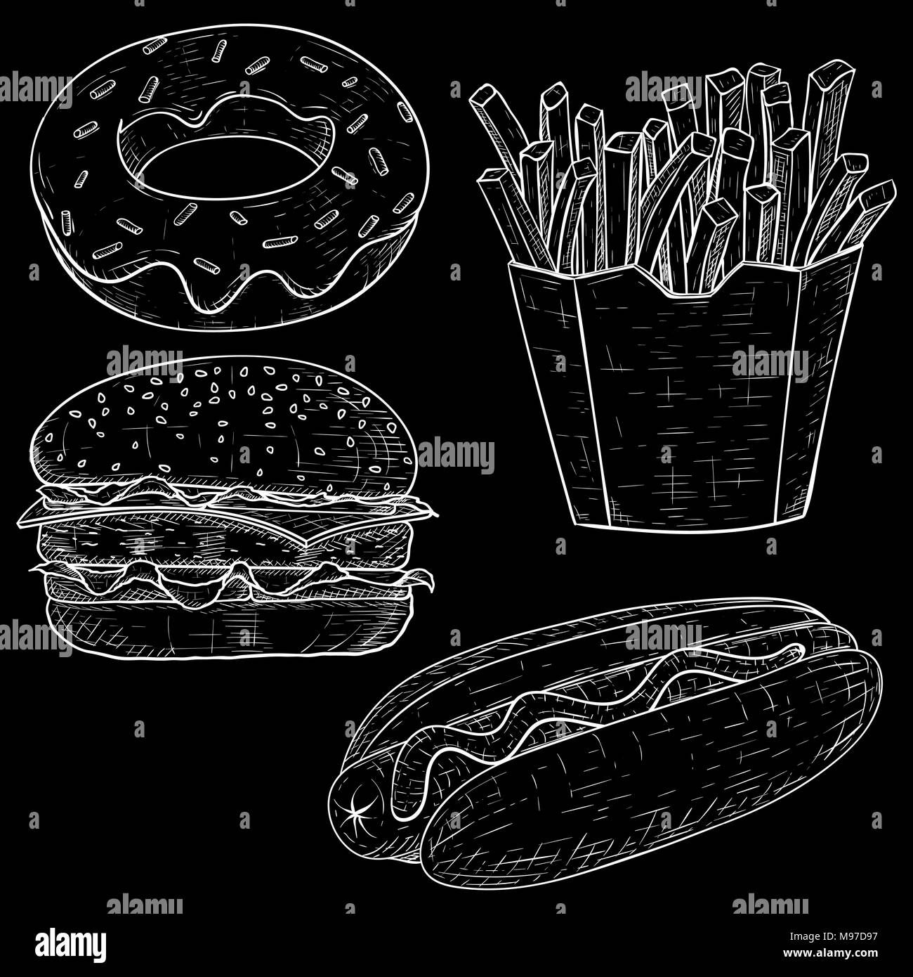 Fast food set. Hand drawn sketch on blackboard background - Stock Vector