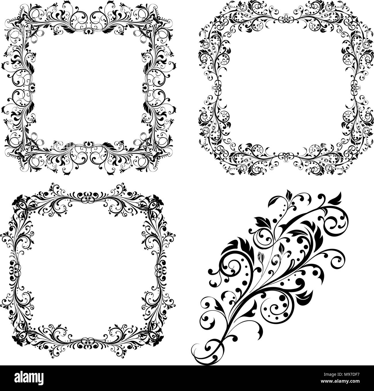 Floral decorative frames and ornament Stock Vector Art ...