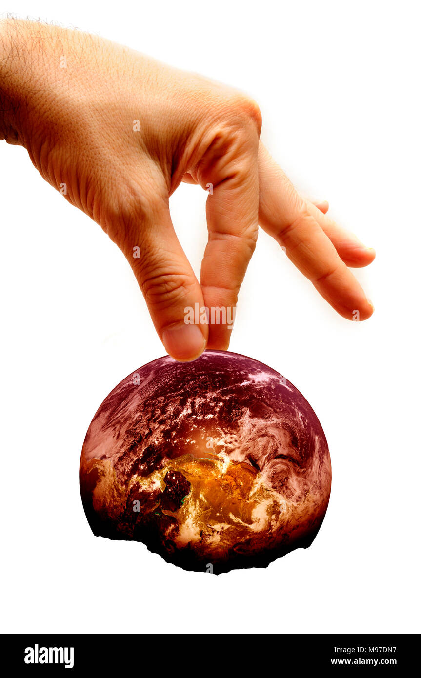 male hand holding planet earth partially burnt, concept for ecology awareness, environment protection, climate change - Stock Image