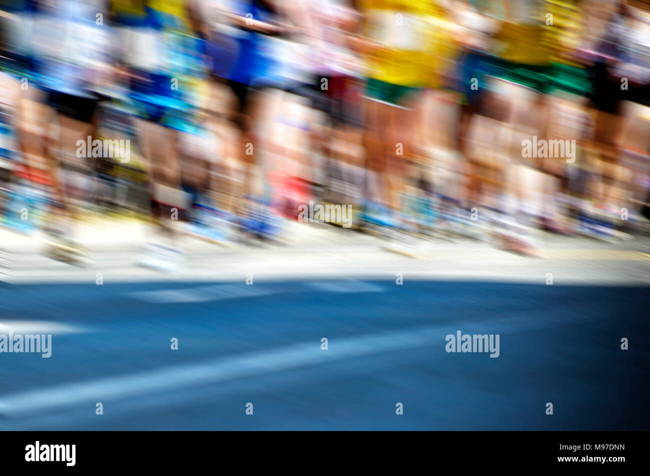 start of a marathon race with strong panning effect - Stock Image