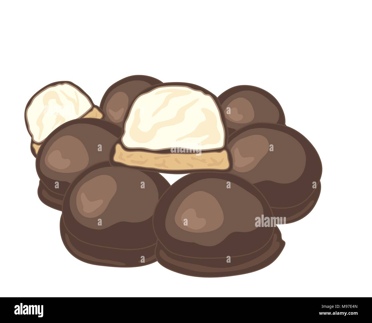 a vector illustration in eps format of a stack of chocolate covered marshmallow biscuits with one halved on a white background - Stock Vector