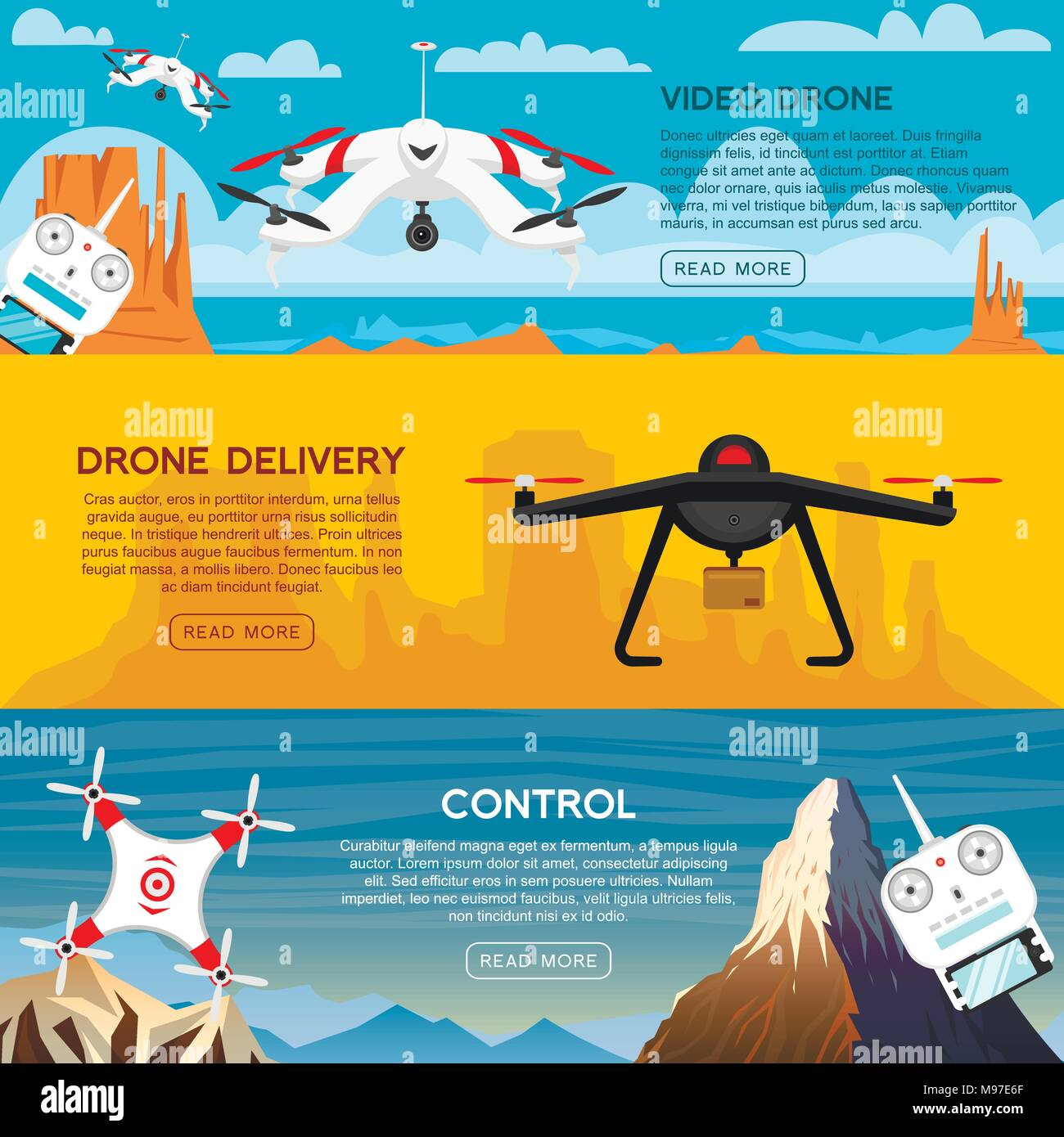 Modern Air Drones For Card And Remote Control Video And Photo And Delivery Science And Technologies Radio Robot With Camera In The Air Innovative Systems Background Or Poster Stock Vector Image