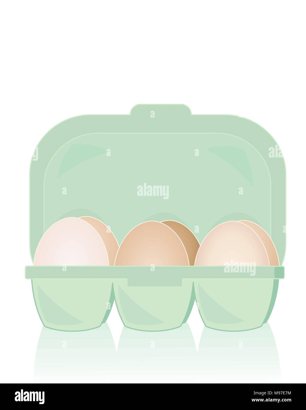 an illustration of a box of organic free range fresh eggs on a white background with reflection - Stock Vector