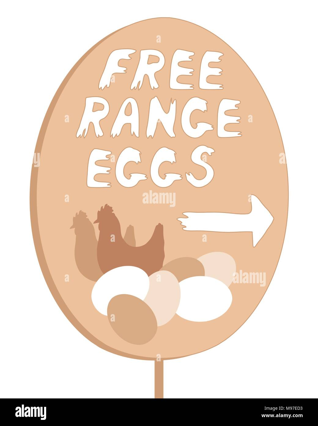 an illustration of a home made free range egg sign with lettering and illustration isolated on a white background - Stock Vector