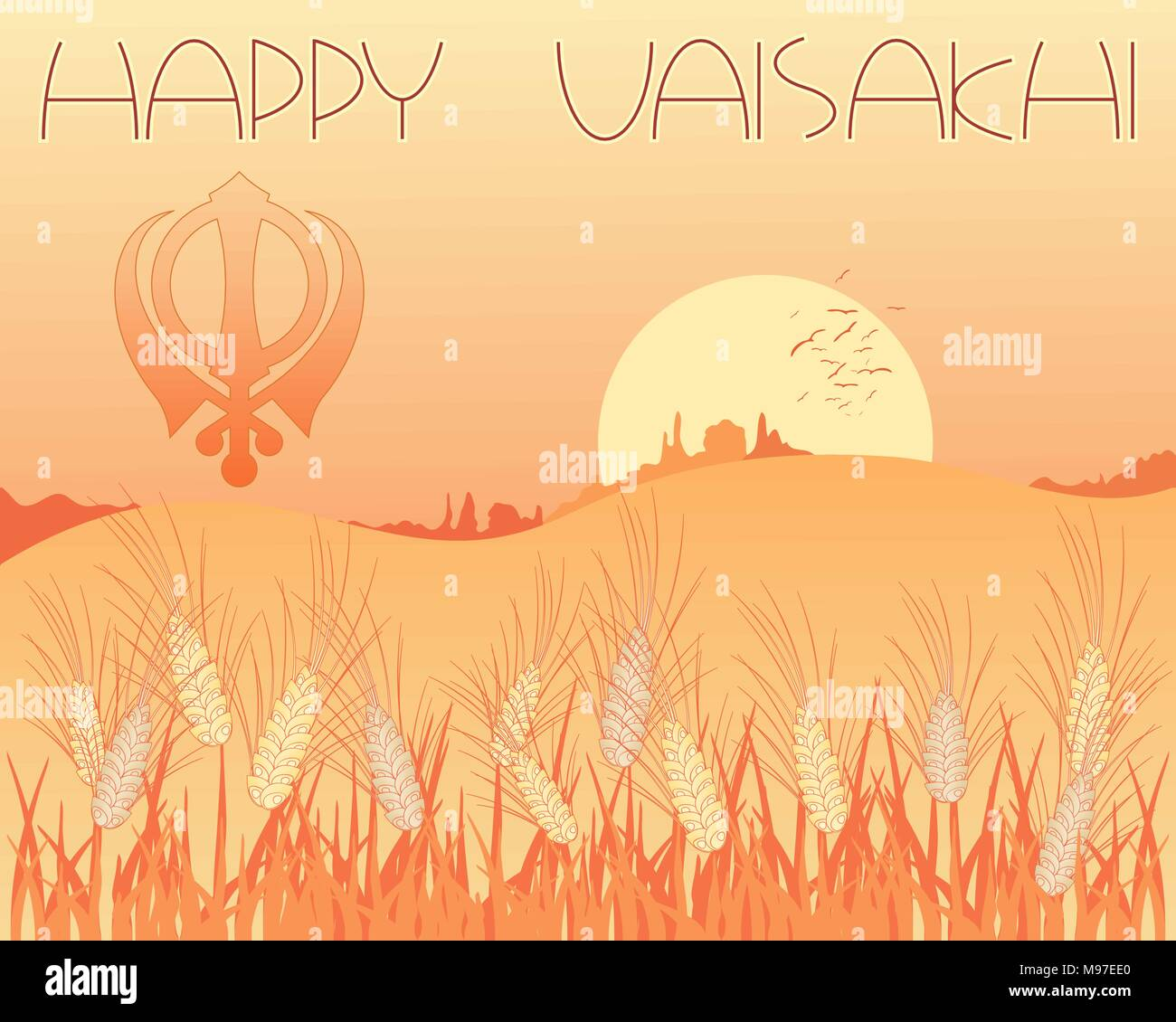 an illustration of a vaisakhi greeting card with harvest scene and sikh symbol at sunset - Stock Vector