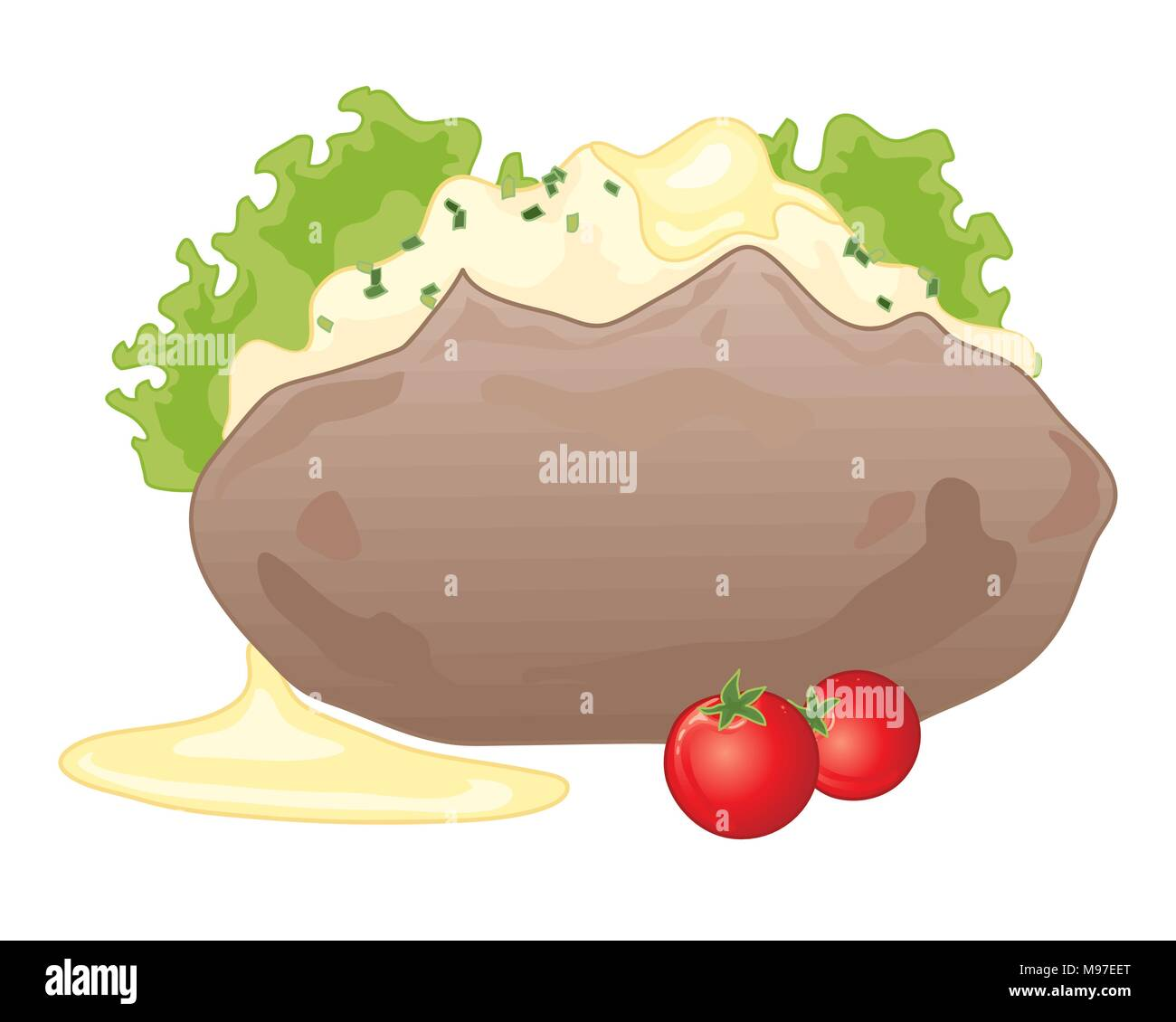 a vector illustration in eps 10 format of a baked jacket potato with butter lettuce and tomato isolated on a white background - Stock Vector