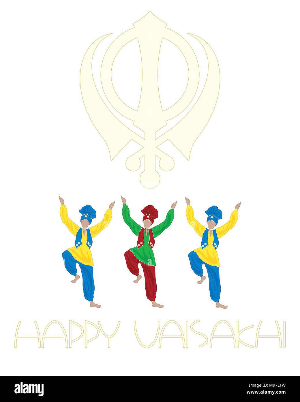 a vector illustration in eps 10 format of a Sikh Vaisakhi greeting card with dancers symbol and the words Happy Vaisakhi on a white background - Stock Vector