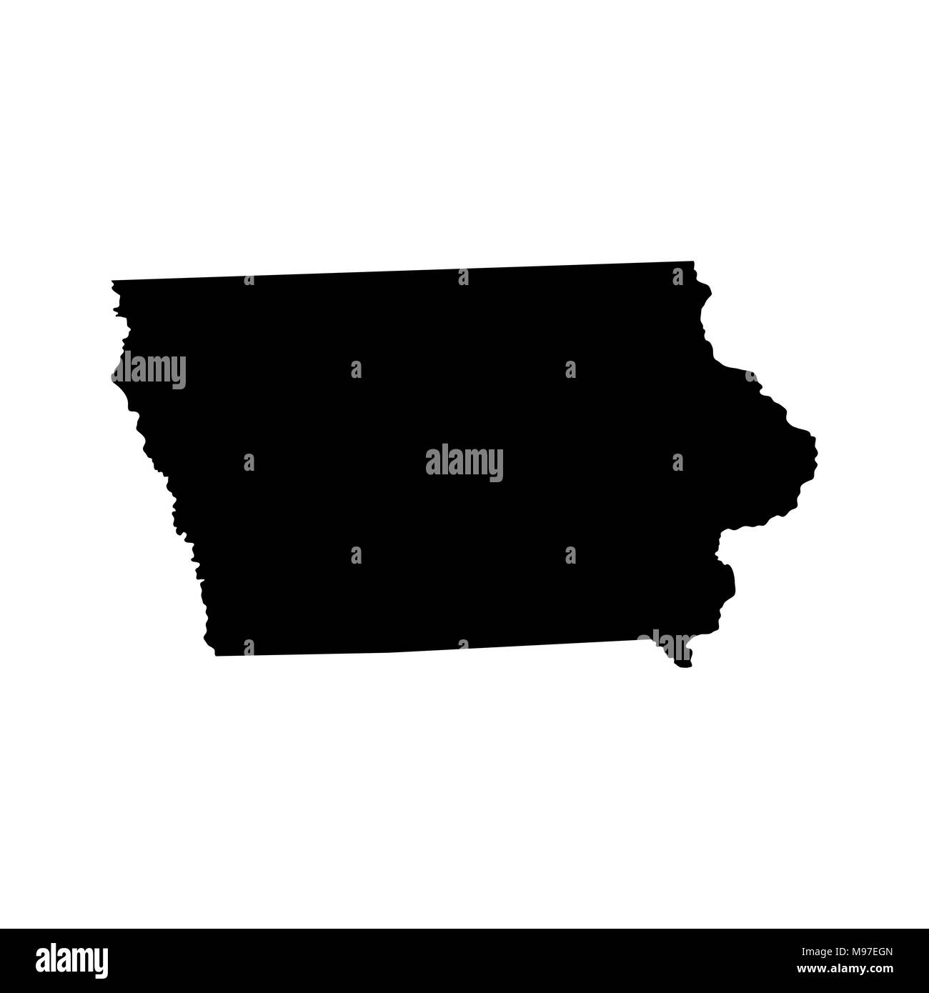Map Of The U S State Of Iowa Stock Vector Art Illustration