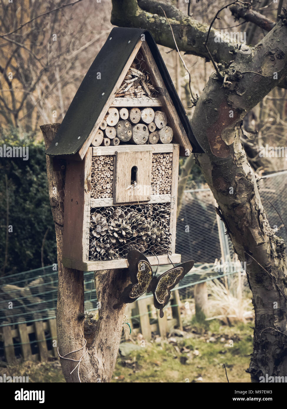 Close up of an insect hotel with butterfly decoration in a german garden around Elstra. - Stock Image