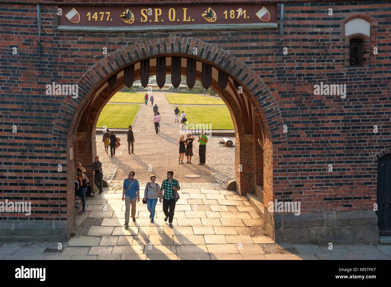 Facade of the Holsten Gate, Lubeck, Baltic Sea, Schleswig-Holstein, Germany, Europe - Stock Image