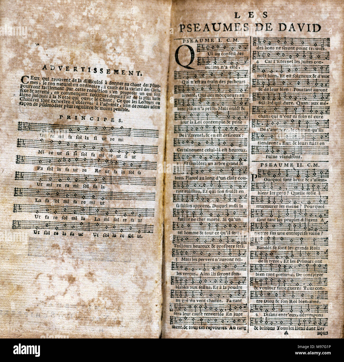 Clement Marot (1496-1544). French poet. Around 1543 he translated in verse the Psalms of David that earned him the censorship of the Sorbonne. Psalms of David. Beginning of Psalms I and II. Printed edition in Amsterdam, 1683. Stock Photo