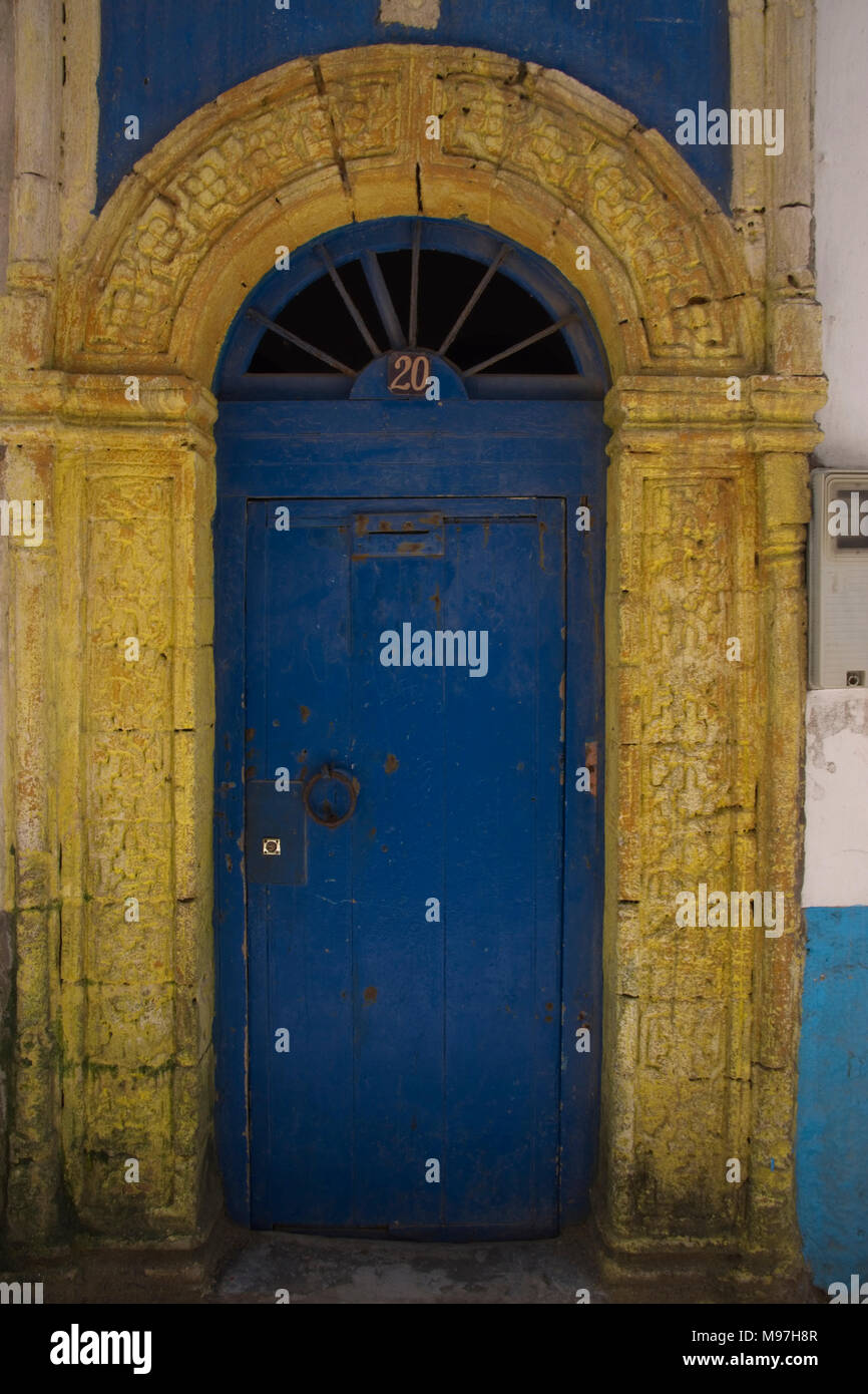 Colourfully decorated old doors - Stock Image - Antique Moroccan Doors Stock Photos & Antique Moroccan Doors Stock