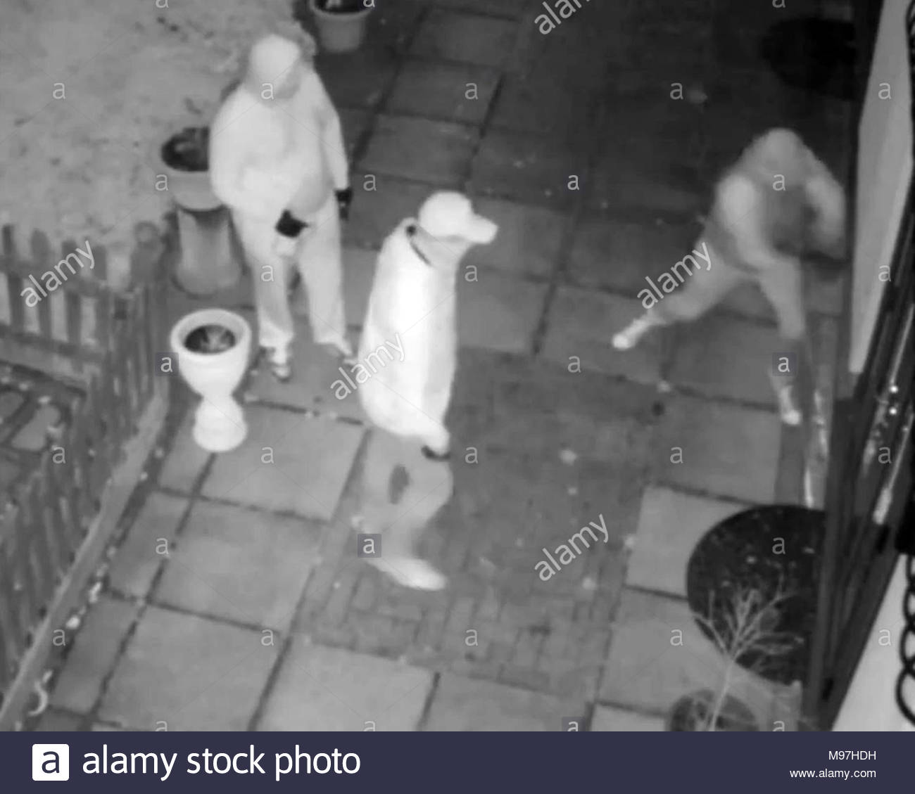 Handout video screengrab dated 05/03/18 issued by the Metropolitan Police of three of the four men who were wielding crowbars and hammers to force their way into a house in Chislehurst. Police are hunting for the gang as it is believed that they are behind a spate of burglaries in an affluent London suburb. Stock Photo