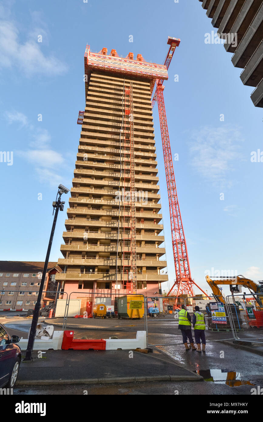 Top down demolition of Bluevale Tower, one of the Gallowgate Twins, in the East End of Glasgow, Scotland, UK - Stock Image