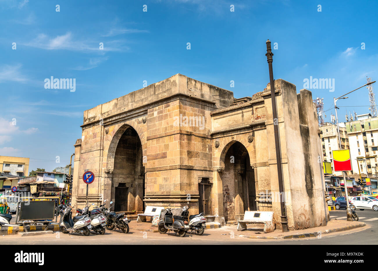 Delhi Gate of Old Ahmedabad. UNESCO heritage site in Gujarat State of India - Stock Image