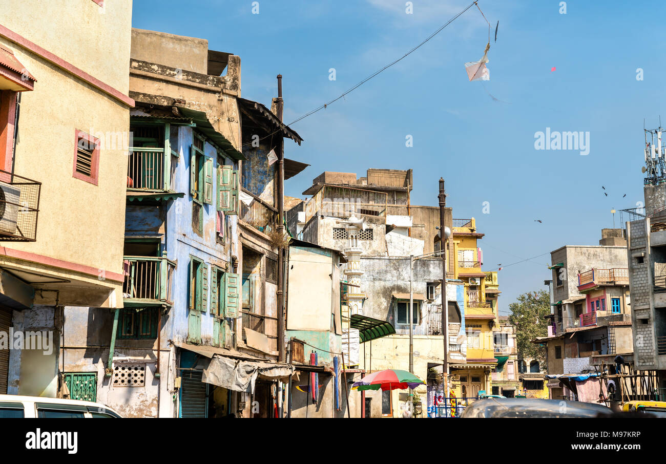 Typical buildings in Ahmedabad - Gujarat State of India Stock Photo