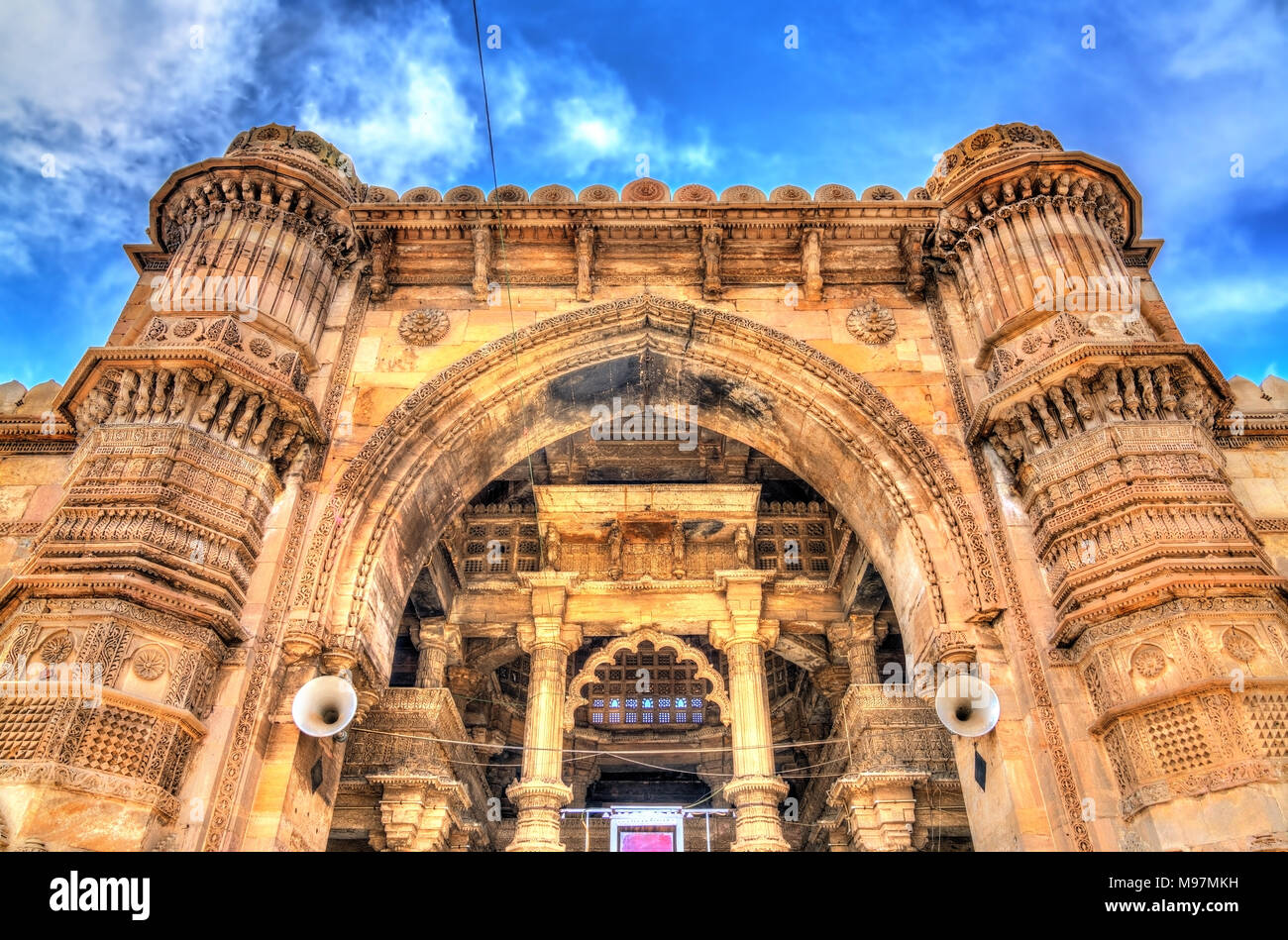 Jama Mosque, the most splendid mosque of Ahmedabad - Gujarat State of India - Stock Image