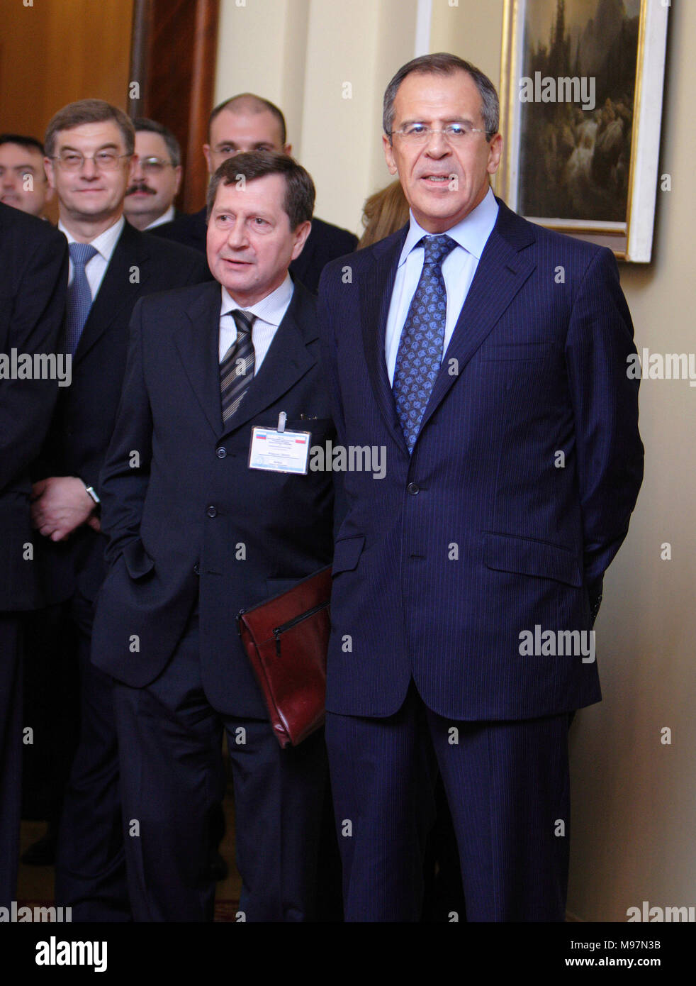 Warsaw, Masovia / Poland - 2006/10/05: Sergey Lavrov - Foreign Affairs Minister of Russian Federation with assisting team during a diplomatic meeting  - Stock Image