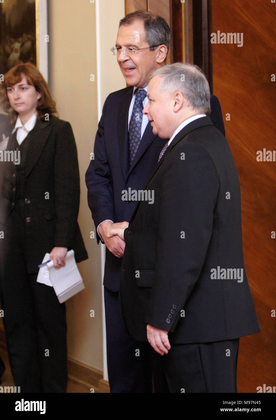 Warsaw, Masovia / Poland - 2006/10/05: Sergey Lavrov - Foreign Affairs Minister of Russian Federation with Jaroslaw Kaczynski - Prime Minister Ministe - Stock Image