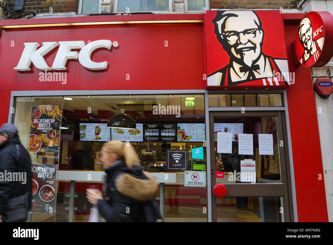 Kentucky Fried Chicken (KFC) fast food restaurant in Wood Green