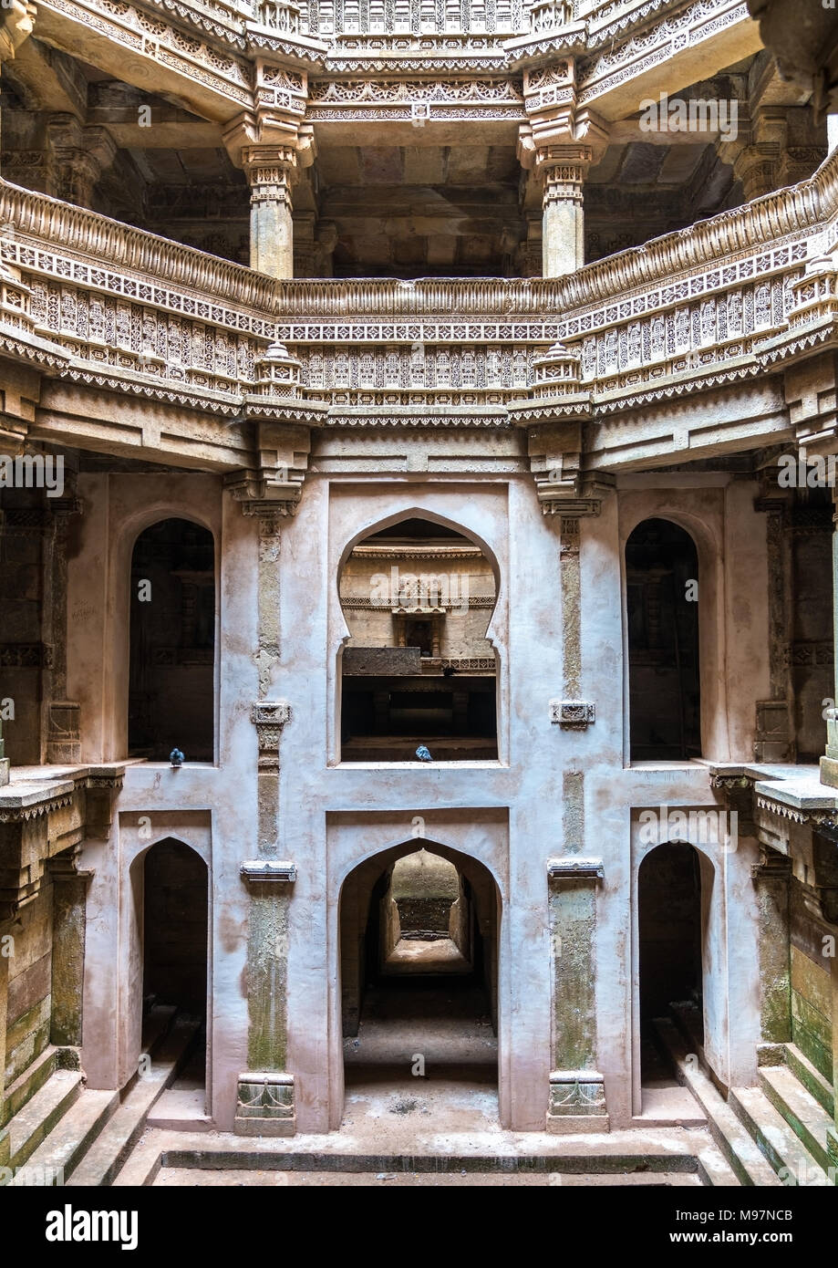 Adalaj or Rudabai Stepwell in Adalaj village near Ahmedabad - Gujarat State of India - Stock Image