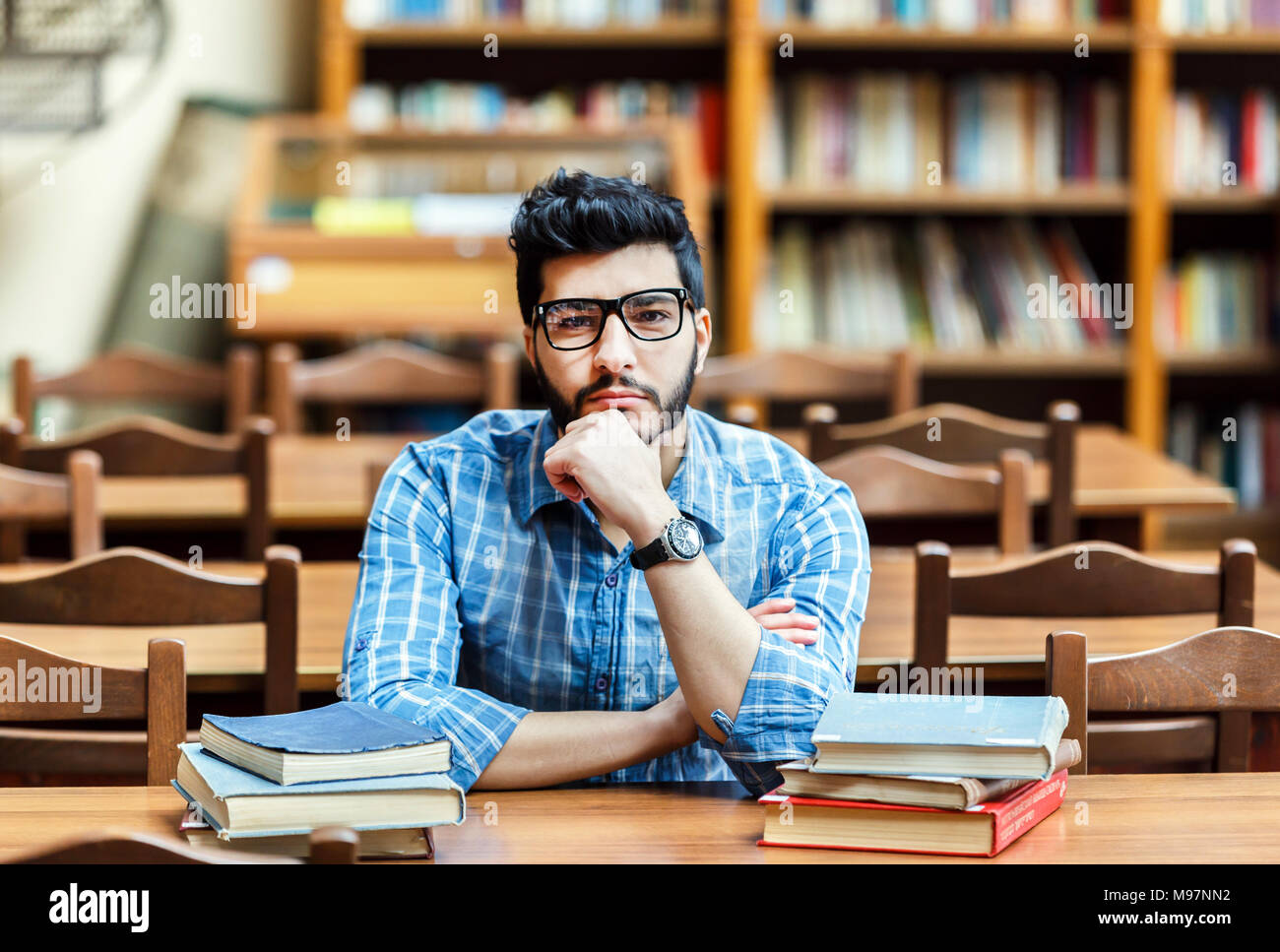 Student in the Library Hall - Stock Image