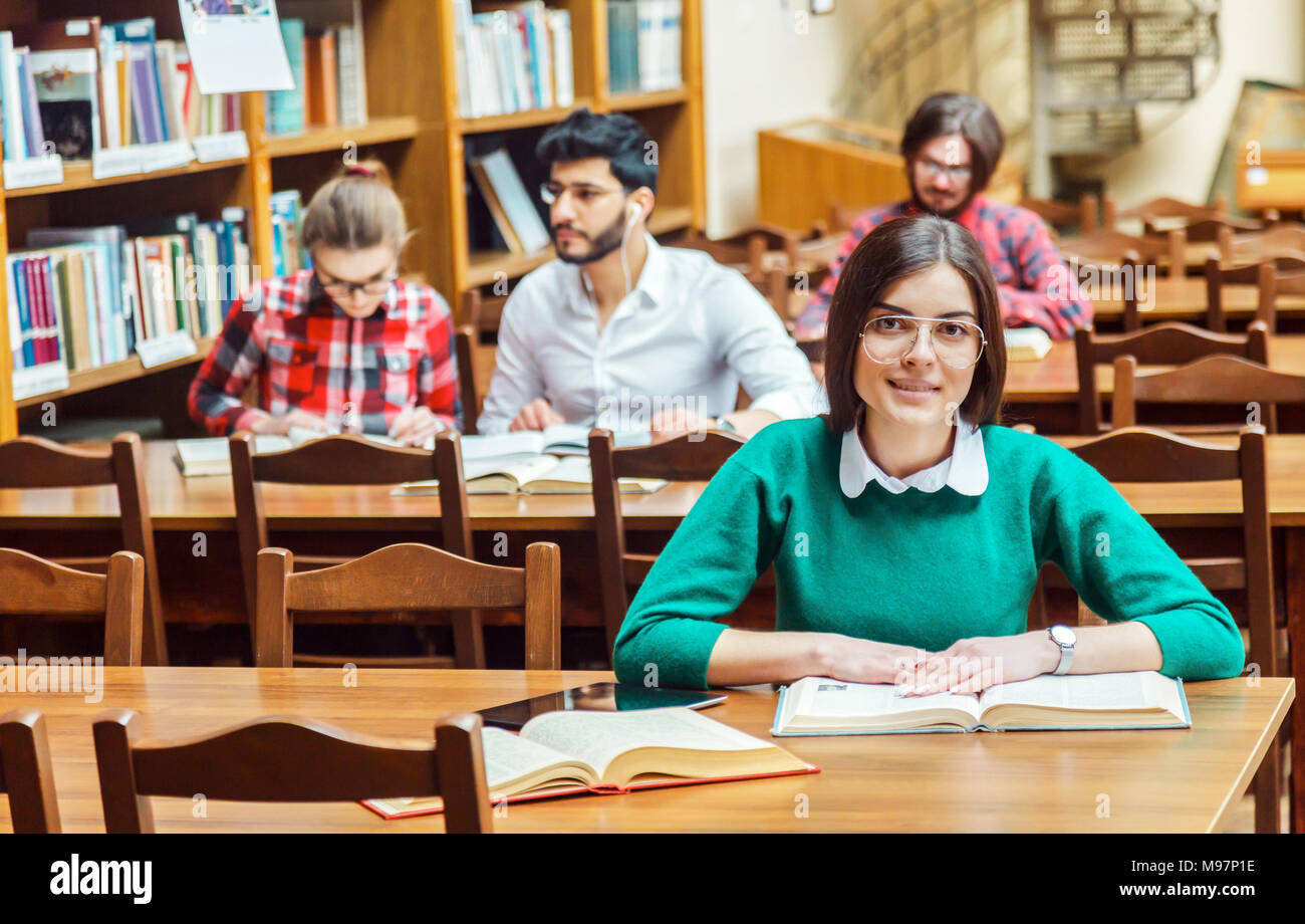 Studying in the Library Stock Photo