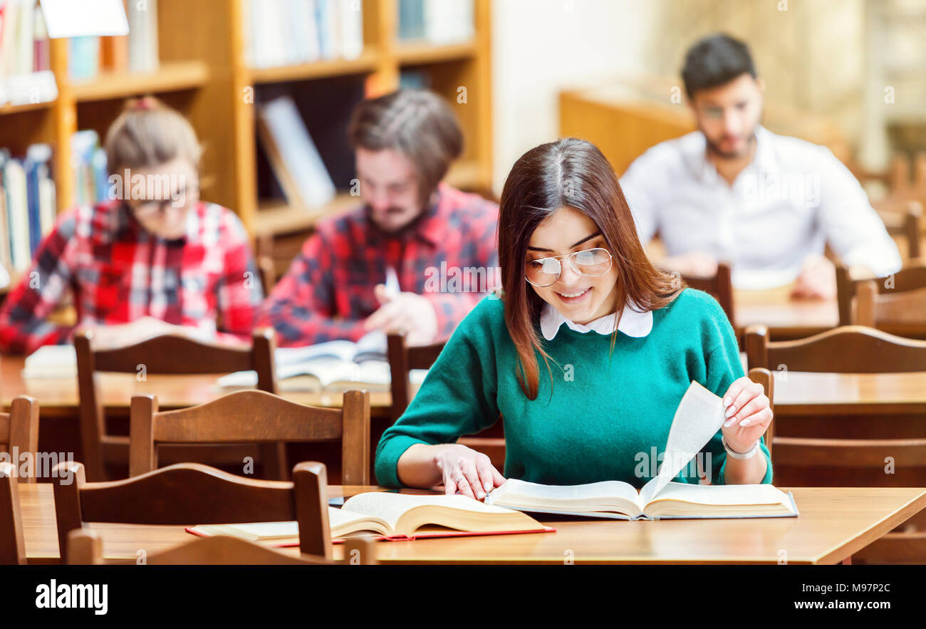 Studying in the Library - Stock Image