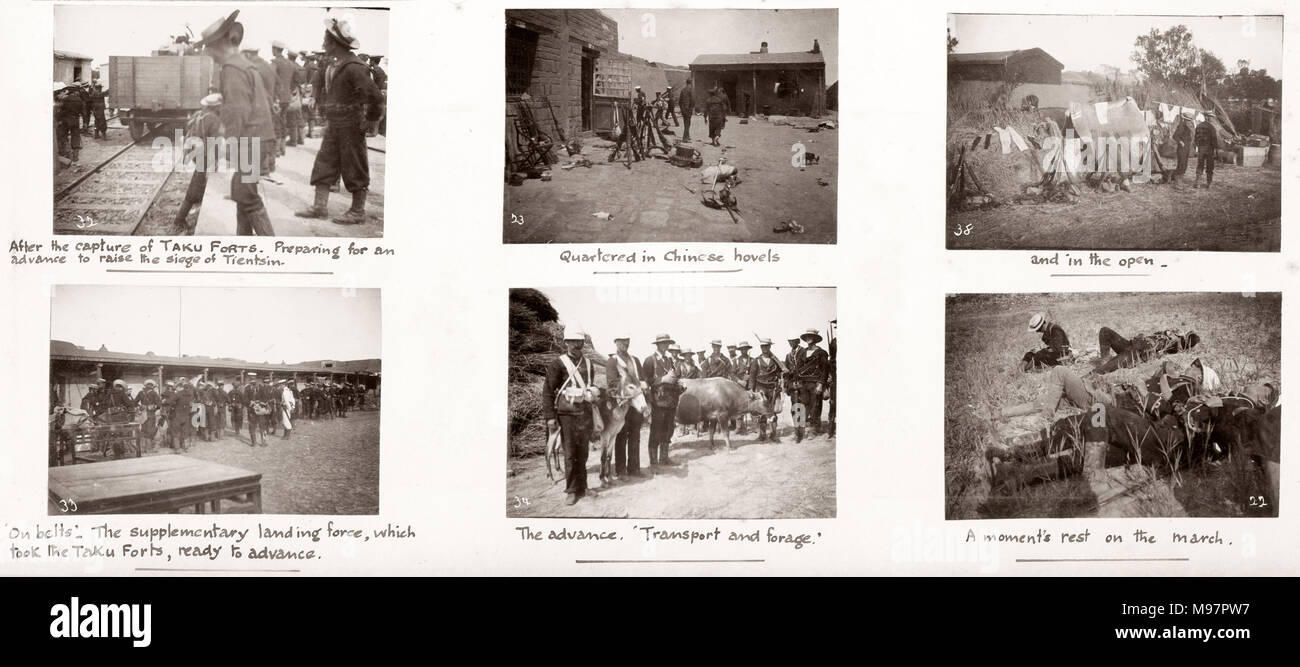 Vintage Photograph China c.1900 - Boxer rebellion or uprising, Yihetuan Movement - image from an album of a British soldier who took part of the supression of the uprising - capute of the Taku forts - Stock Image