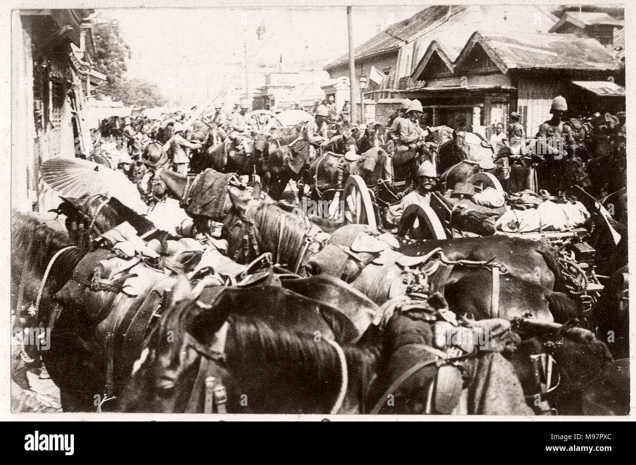 Vintage Photograph China c.1900 - Boxer rebellion or uprising, Yihetuan Movement - image from an album of a British soldier who took part of the supression of the uprising - British troops in Peking Beijing - Stock Image