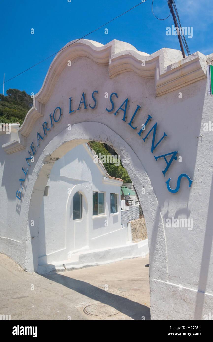 VIÑA DEL MAR, CHILE- JANUARY 2, 2018: Ancient entrance of the historic Las Salinas spa, in the neighborhood of the same name, in the city of Viña del  - Stock Image