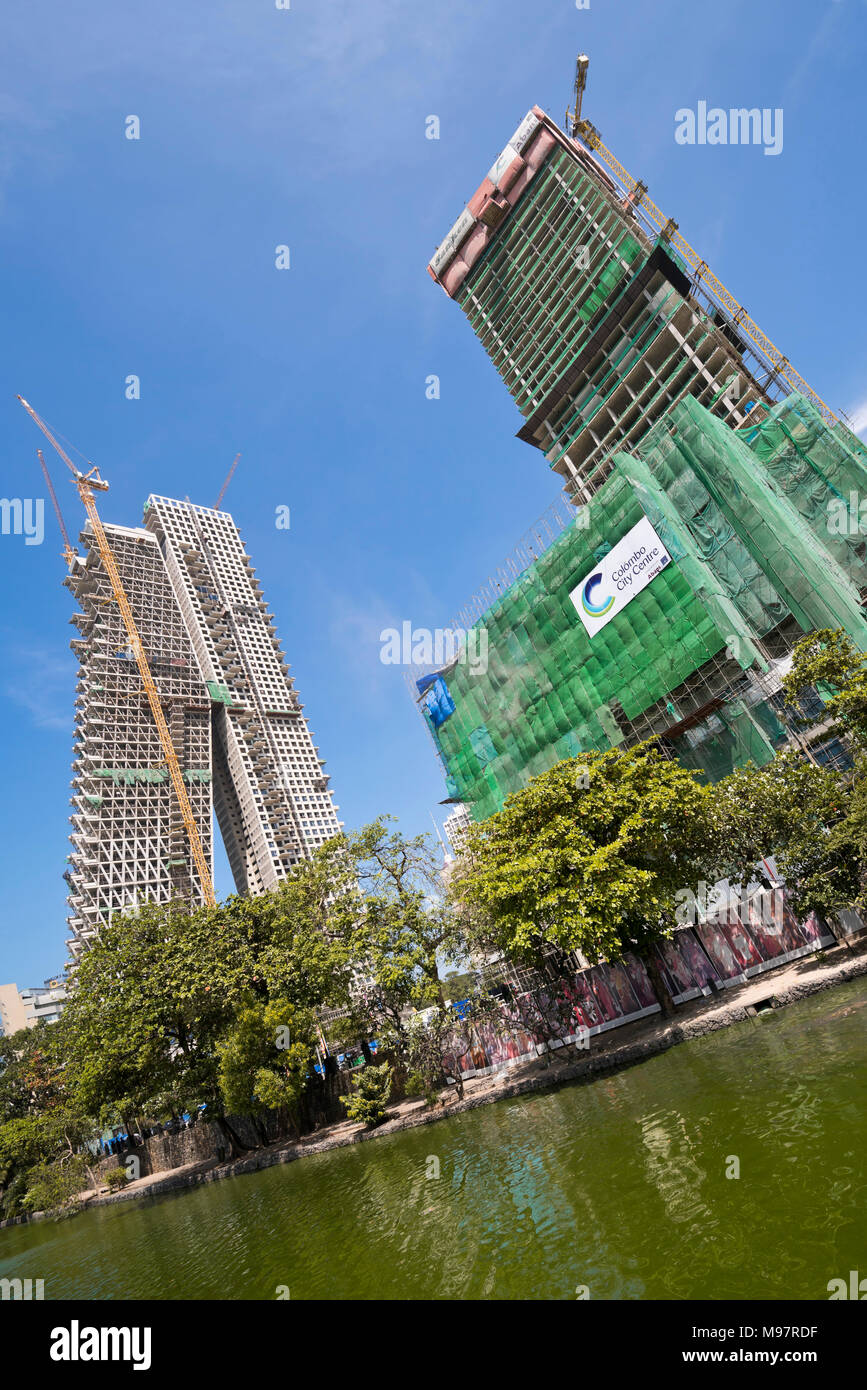 Vertical view of major construction taking place around Beira Lake in Colombo, Sri Lanka. - Stock Image