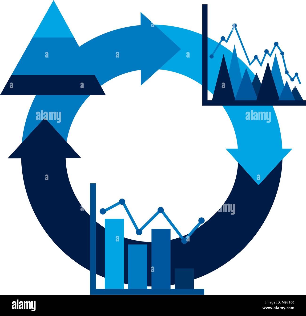 cycle arrow diagram bar graph business theme - Stock Image