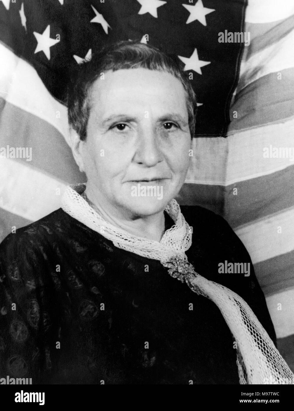 Gertrude Stein (1874-1946). Portrait of the American novelist and playwright by Carl Van Vechten, c.1935. - Stock Image