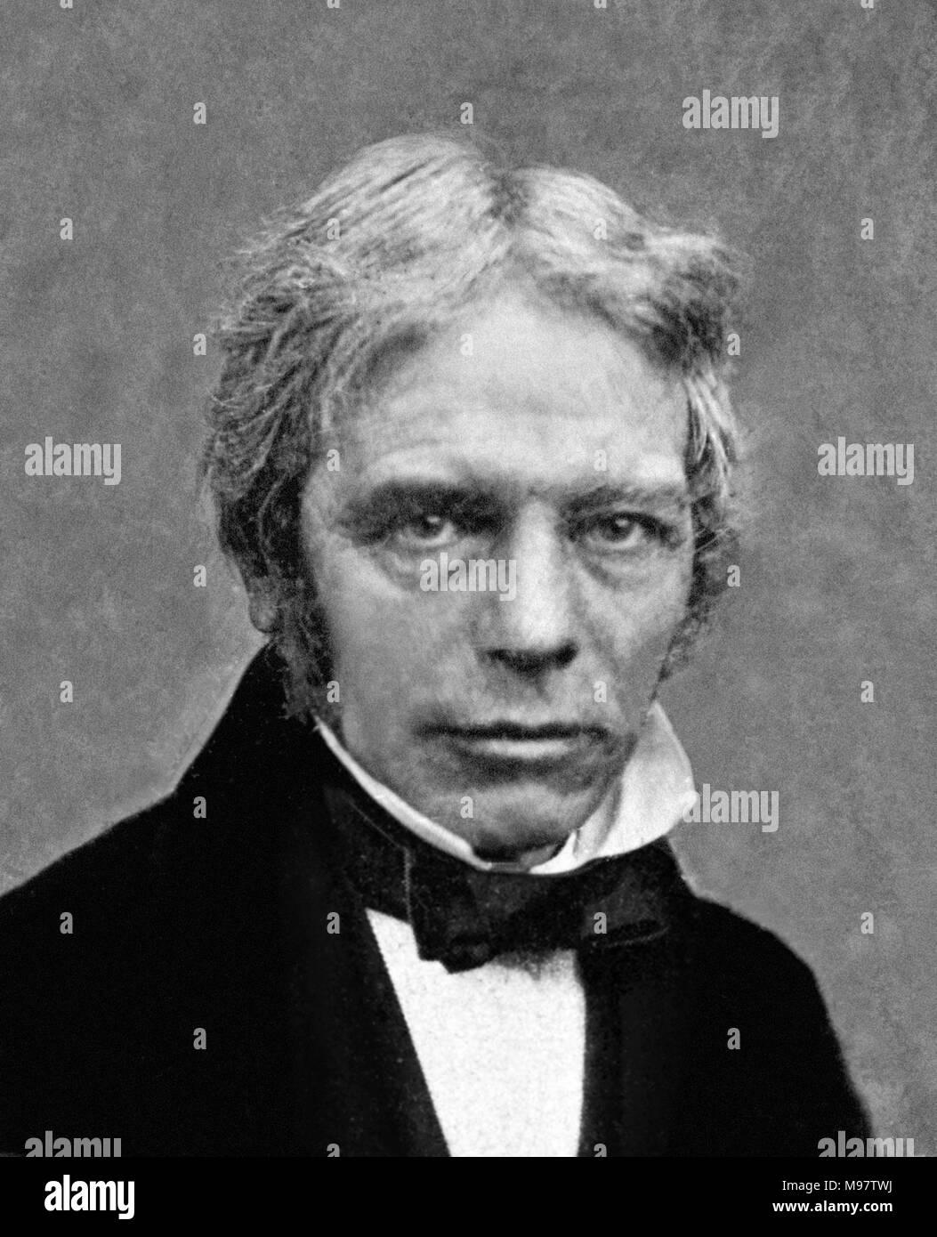 Michael Faraday (1791-1867), daguerrotype portrait by the studio of Matthew Brady, taken between 1840 and 1860. - Stock Image