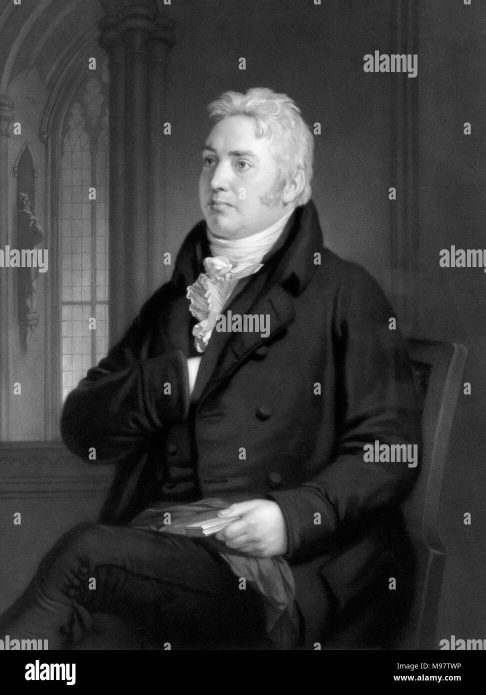 Samuel Taylor Coleridge (1772-1834), an 1854 engraving by Samuel Cousins from a painting by Washington Allston showing Coleridge at the age of 42. - Stock Image