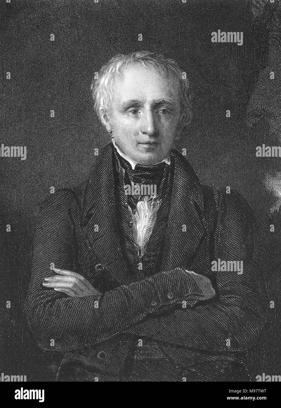 William Wordsworth (1770-1850), an 1833 engraving by John Cochran from a painting by Sir William Boxall, - Stock Image