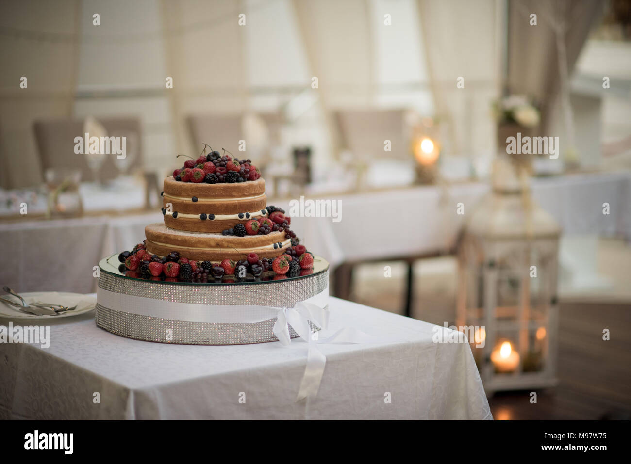 A delicious looking wedding cake - Stock Image