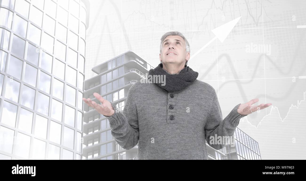 Old man opening arms to sky and Tall buildings with chart scales background - Stock Image