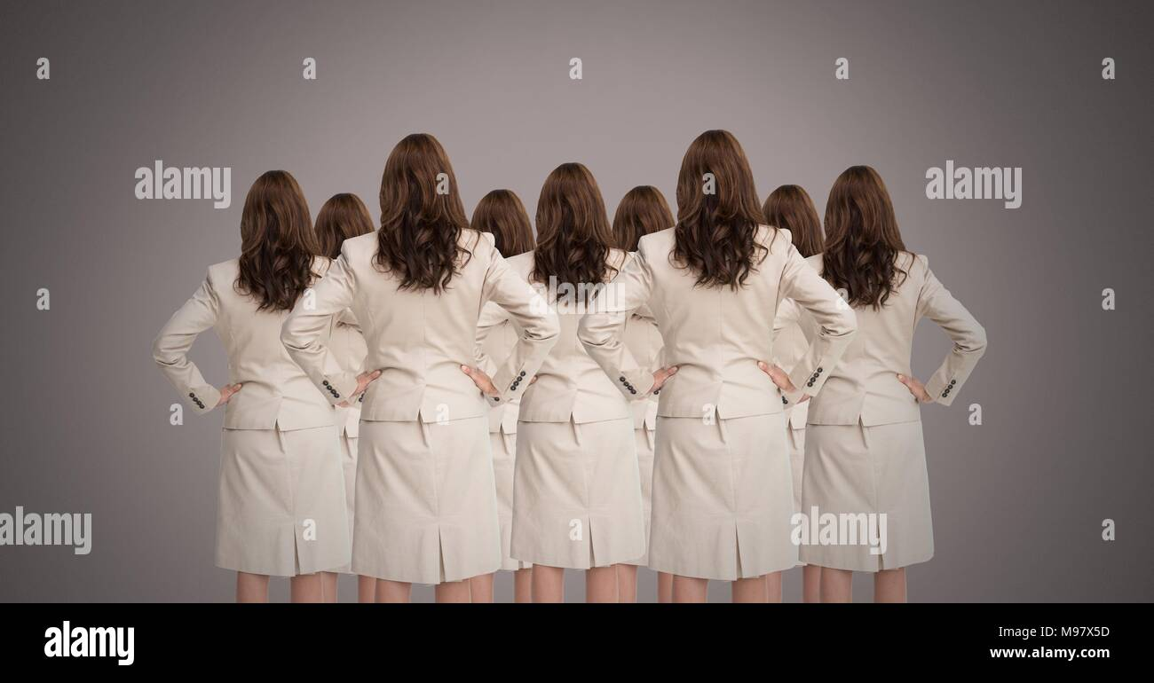 Clone women in group - Stock Image