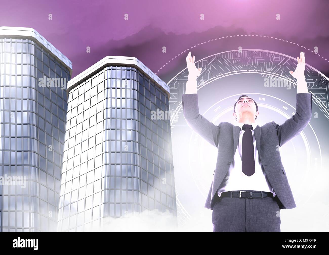 Businessman opening arms with Tall buildings with sci-fi circle glowing - Stock Image