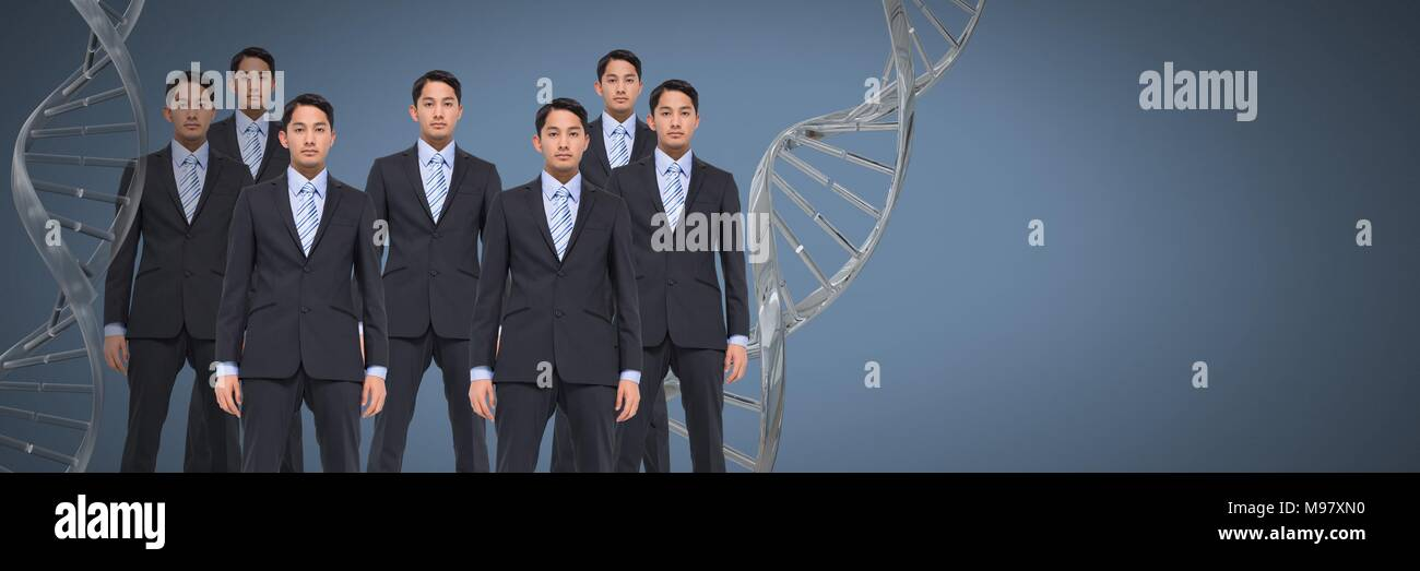 Clone men with genetic DNA - Stock Image