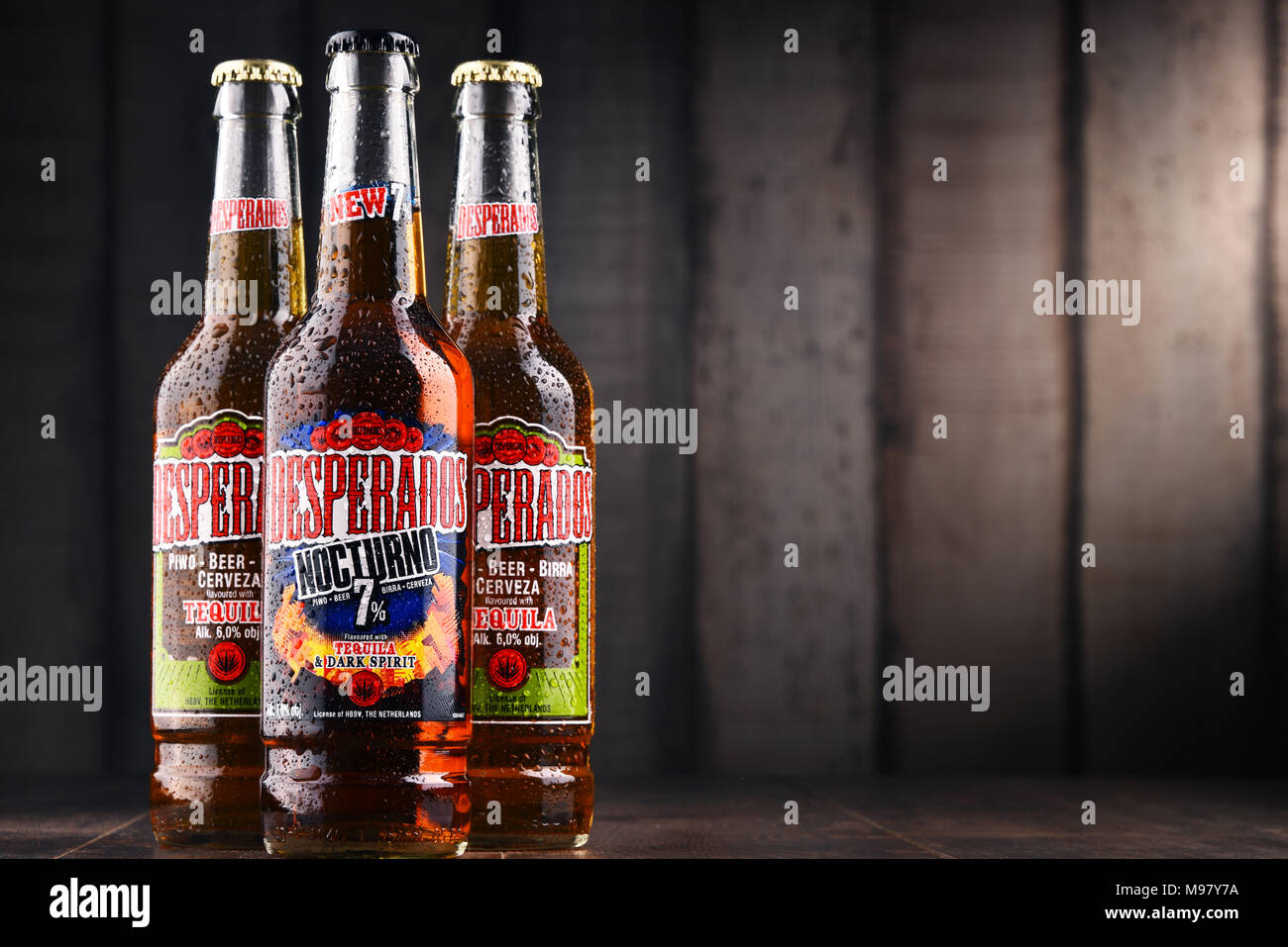Poznan Poland Feb 14 2018 Desperados A Pale Lager Flavored With Tequila Is A Popular Beer Produced By Heineken And Sold In Over 50 Countries Stock Photo Alamy